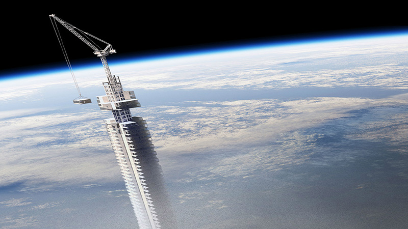 This is heights! A skyscraper dangling from outer space