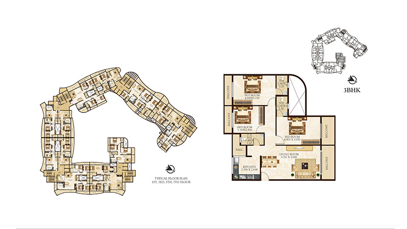 Tulsi Signature floor plan 3bhk