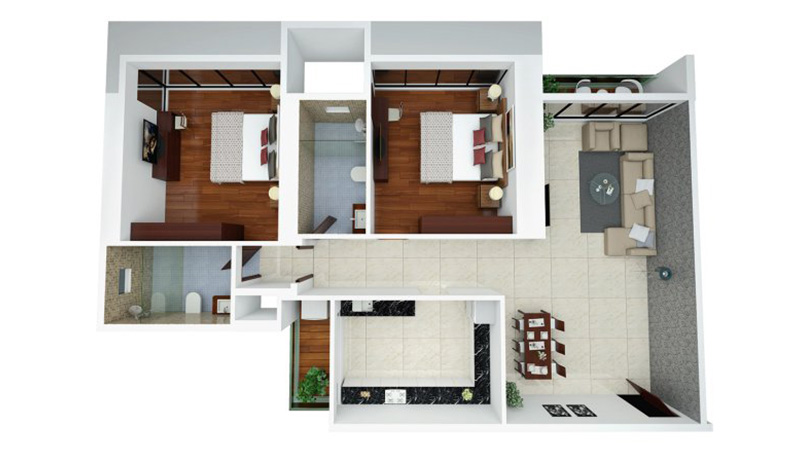 Ajmera Zeon Floor Plan 2BHK