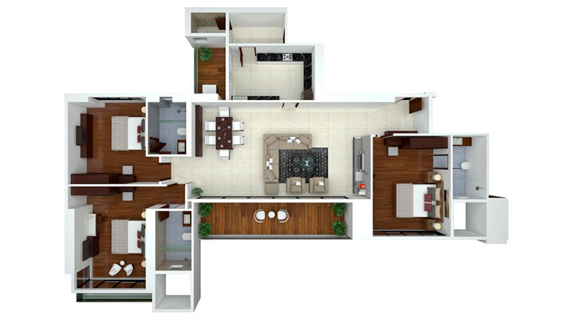 Ajmera Zeon Floor Plan 3BHK
