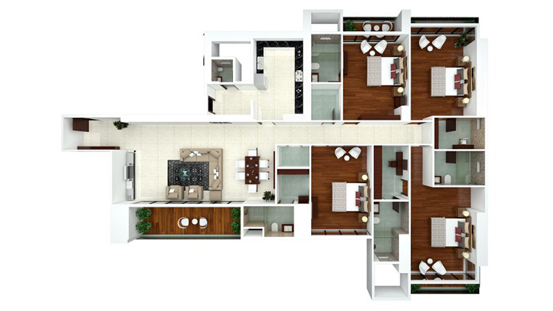 Ajmera Zeon Floor Plan 4BHK