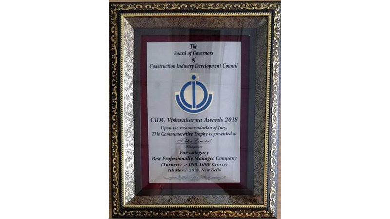 SOBHA Wins Three Prestigious Awards At The 10th CIDC Vishwakarma  Awards, 2018