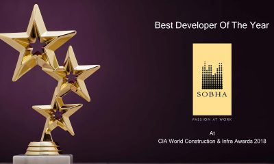 SOBHA Wins Best Developer Of The Year – Large Category At CIA World Construction & Infra Awards 2018