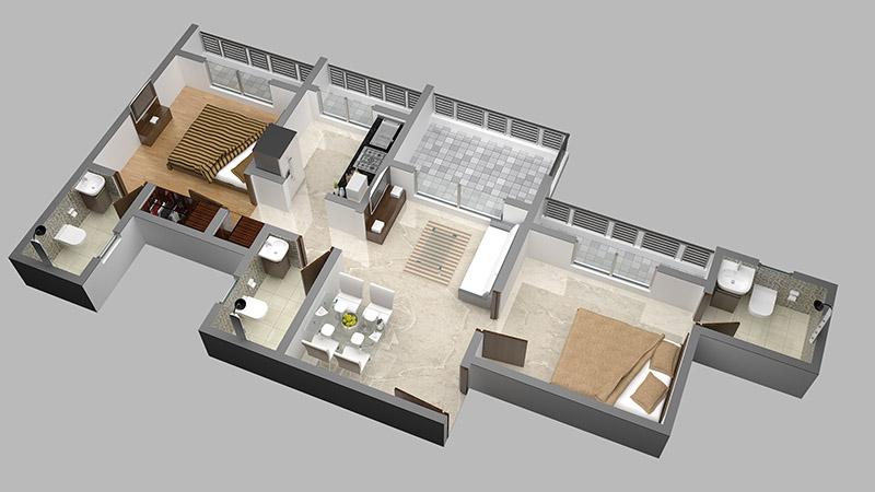 Mayfair Vishwaraja2BHK Floor Plan 3D