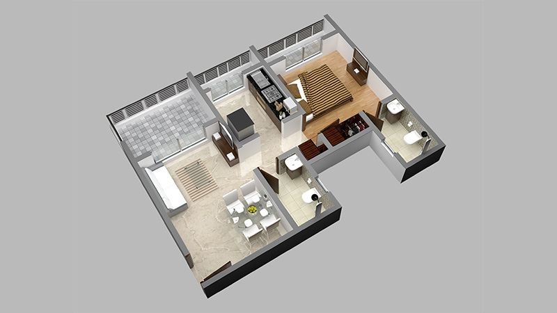 Mayfair Vishwaraja 1BHK Floor Plan 3D