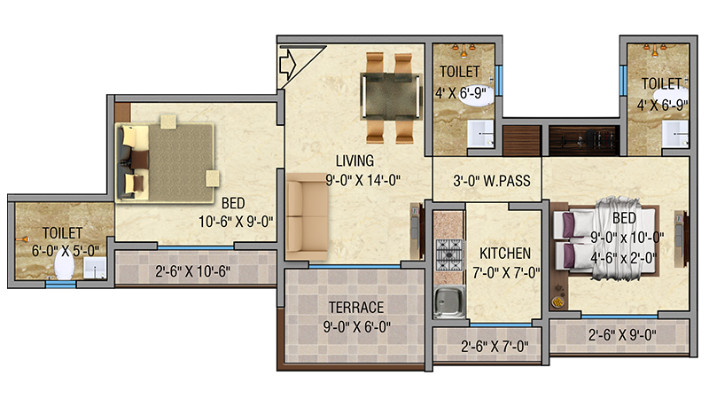 Mayfair Vishwaraja 2BHK Floor Plan