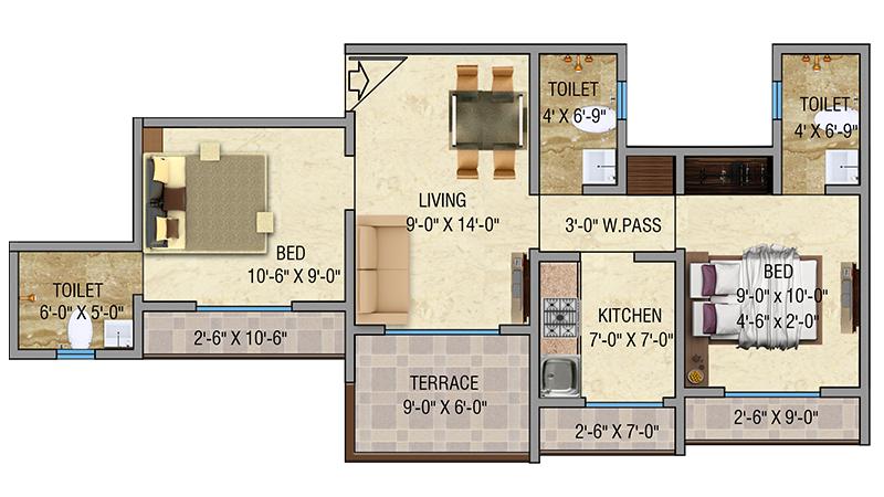 Mayfair Vishwaraja2BHK Floor Plan