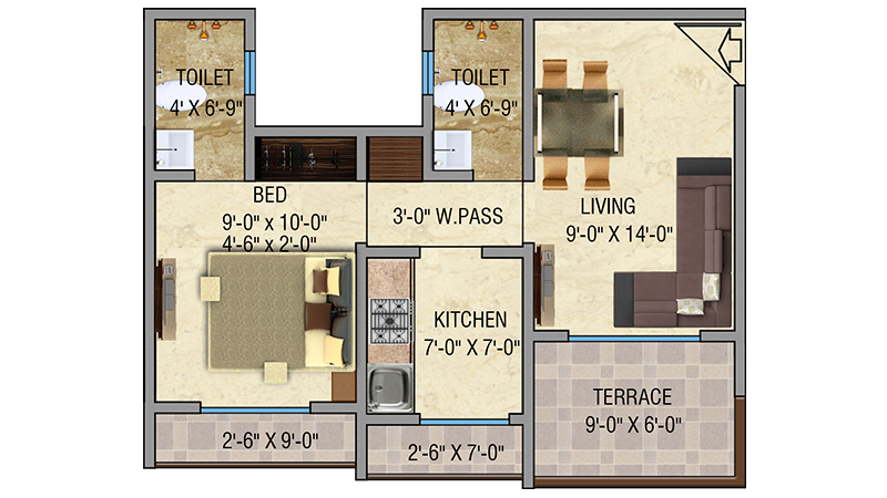 Mayfair Vishwaraja 1BHK Floor Plan