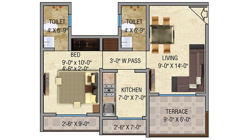 Mayfair Vishwaraja1BHK Floor Plan